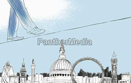 businessman walking on tightrope above sights