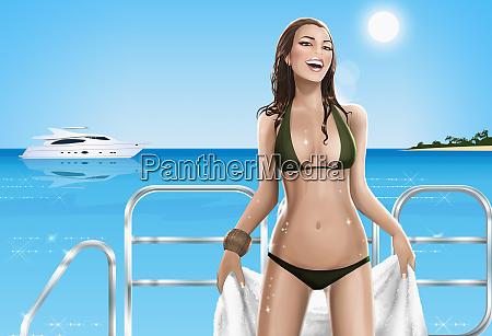 sexy woman in bikini on yacht