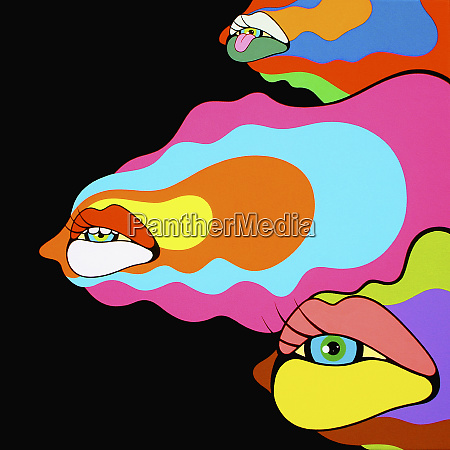 psychedelic mouths and eyes