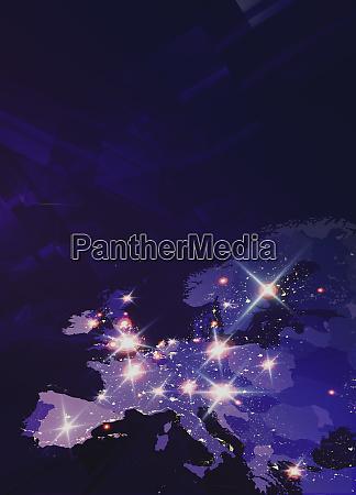 lights shining on futuristic map of
