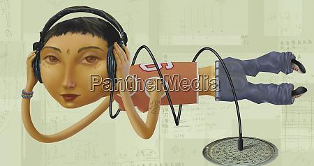 teenage girl listening to underground music