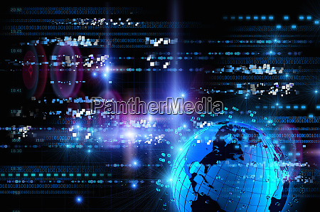 bright blue futuristic globe with digital