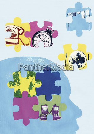 jigsaw puzzle pieces of time aging