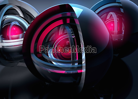 abstract glowing concentric spheres