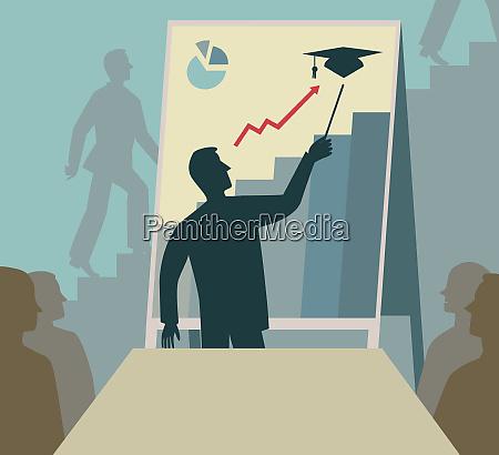 businessman showing graduate education success on
