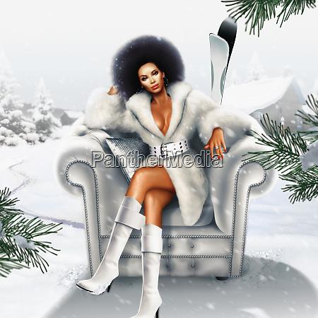 afrikansk, kvinde, i, pels, frakke, siddende - 26001553