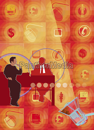 spotlight on businessman and customer at