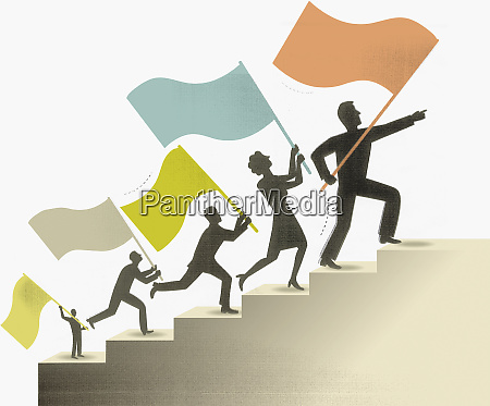 co workers climbing staircase holding flags