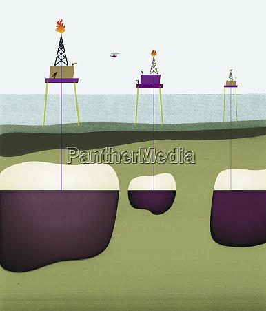 oil wells drilling through ocean