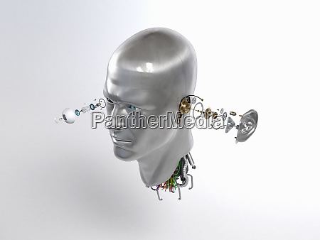 male robot head with cogs and