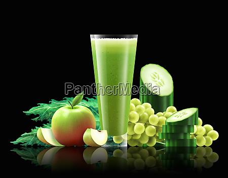 glas aeble gronkal agurk og drue