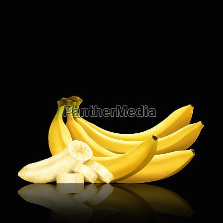 flok bananer og skiver af skraellet