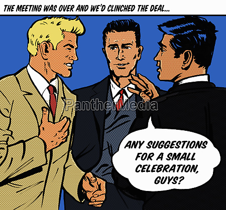 happy businessmen with speech bubble discussing