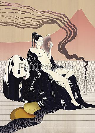 nude asian woman and panda