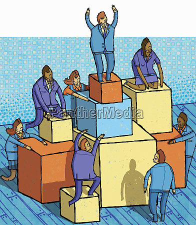business people climbing blocks