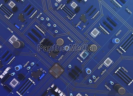 overhead, visning, af, computerbundkort - 26003118