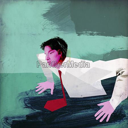 businessman sinking in mud sinkhole