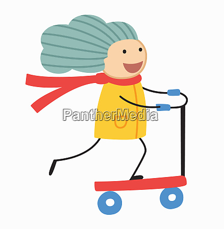 girl enjoying riding scooter