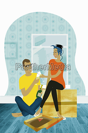 couple toasting each other in new