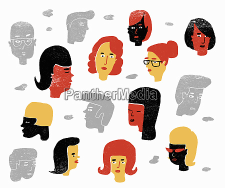 human faces on white background