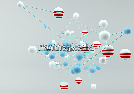 abstract connected network of colorful balls