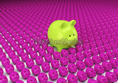 rows of pink piggy banks with