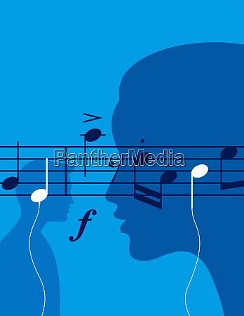 musical notes as headphones as people
