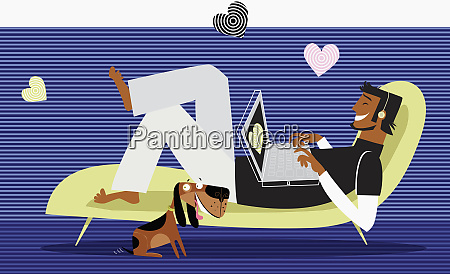 hearts around man using laptop on