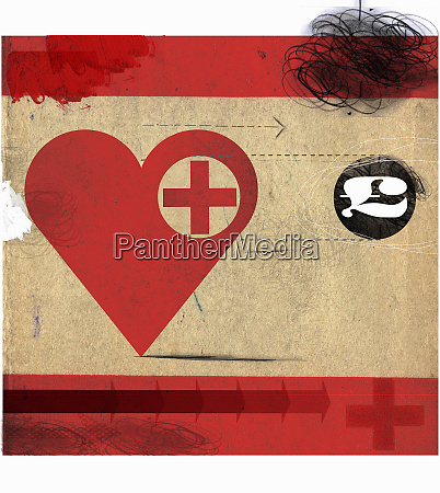 heart with red cross following british