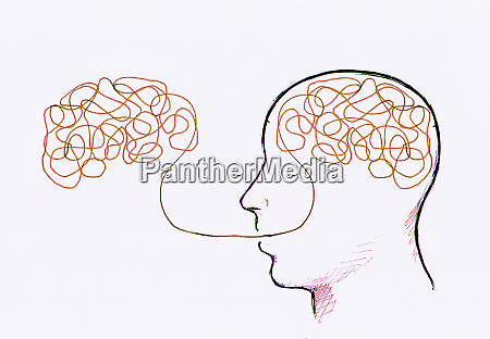 tangled line inside mans head connected