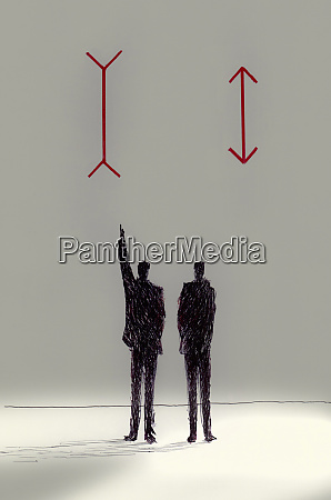 opposite arrows above disagreeing businessmen