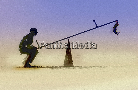 large businessman raising seesaw with small