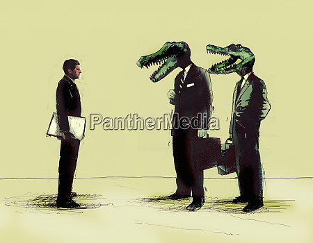 forretningsmand mode forretningsmaend med krokodille hoveder
