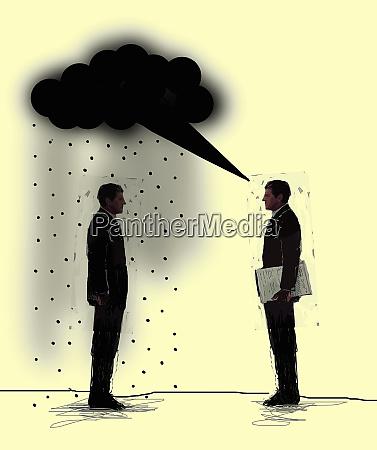 businessmen talking with black rain cloud