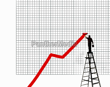 man standing on step ladder painting