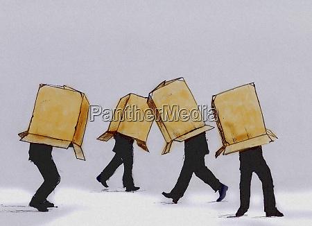 geschaeftsleute laufen auf karton die den