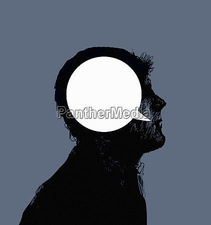 silhouette profile of mans head with