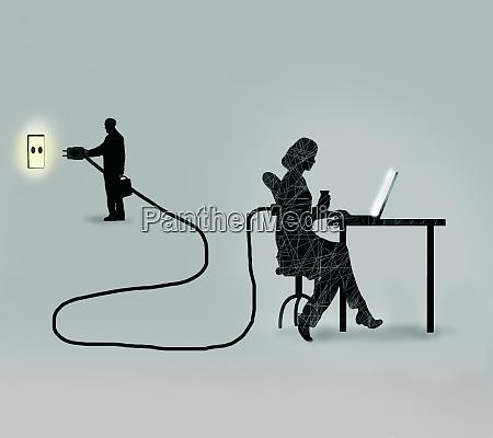 geschaeftsmann stopft weibliche bueroangestellte