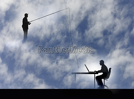 man, fishing, with, hook, over, man - 26008371