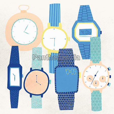 an assortment of different watches