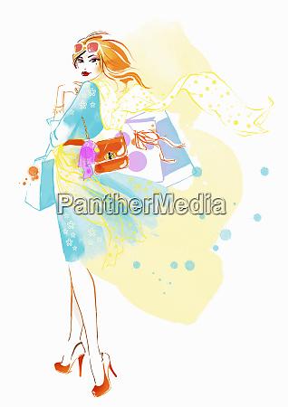 portrait of elegant woman with shopping