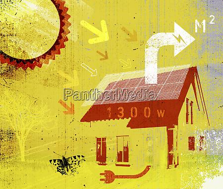 suns, stråler, på, solpaneler, i, hus - 26009906