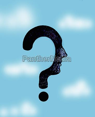 mans profile as question mark