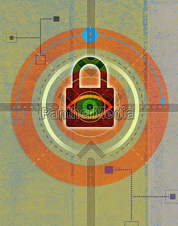 eye looking through padlock in abstract
