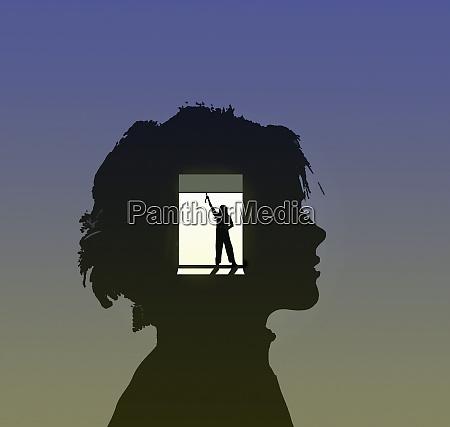 opening blinds inside of boys head