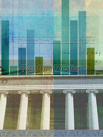 multi layered collage of bar chart