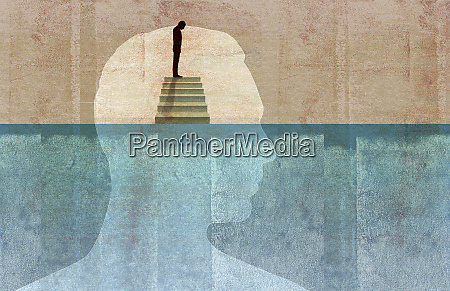 man on top of staircase looking