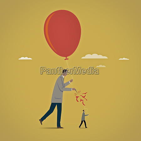 large businessman bursting balloon of smaller