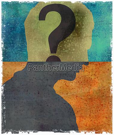 question mark inside of mans head