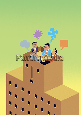 businessmen arguing in meeting on top